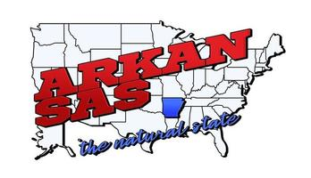 Vector illustration with US Arkansas state on American map with lettering