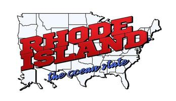 Vector illustration with US Rhode Island state on American map with lettering