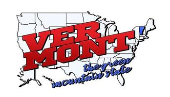 Vector illustration with US Vermont state on American map with lettering