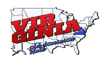 Vector illustration with US Virginia state on American map with lettering