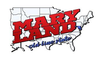 Vector illustration with US Maryland state on American map with lettering