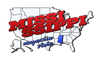 Vector illustration with US Mississippi state on American map with lettering