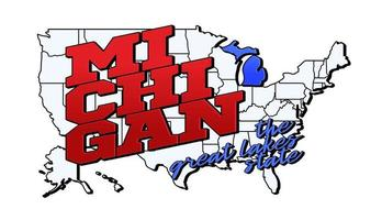 Vector illustration with US Michigan state on American map with lettering