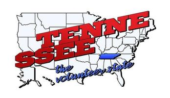 Vector illustration with US Tennessee state on American map with lettering