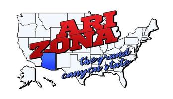 Vector illustration with US Arizona state on American map with lettering