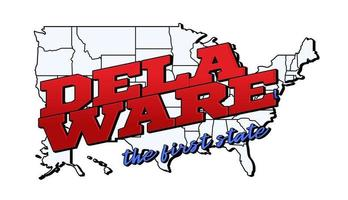 Vector illustration with US Delaware state on American map with lettering