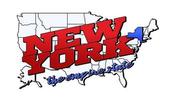 Vector illustration with US New York state on American map with lettering