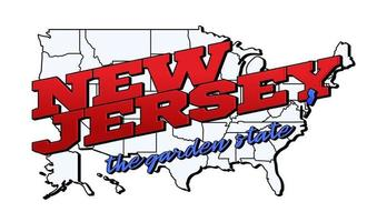 Vector illustration with US New Jersey state on American map with lettering