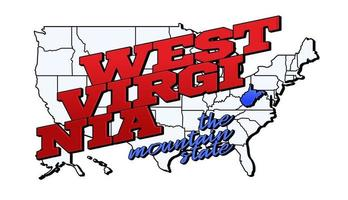 Vector illustration with US West Virginia state on American map with lettering