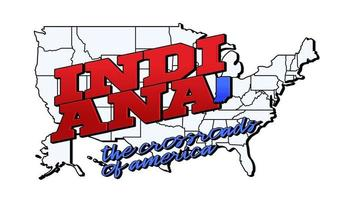 Vector illustration with US Indiana state on American map with lettering