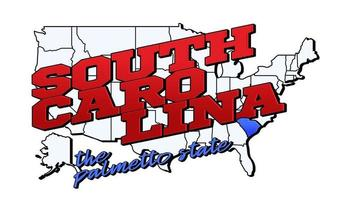 Vector illustration with US South Carolina state on American map with lettering