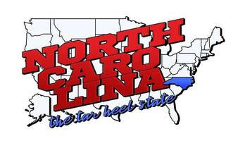 Vector illustration with US North Carolina state on American map with lettering