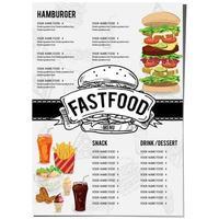 diseño de plantilla de restaurante de comida de menú vector