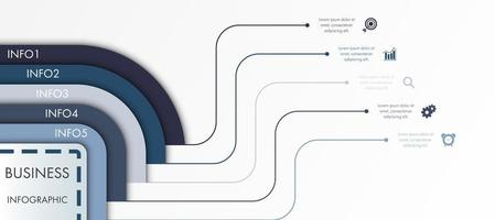 Modern blue and grey business infographic template.