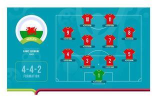 Ilustración de vector de etapa final de torneo de fútbol de alineación de Gales