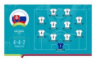 Ilustración de vector de etapa final de torneo de fútbol de alineación de Eslovaquia