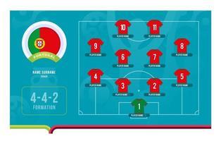 Ilustración de vector de etapa final de torneo de fútbol de alineación de Portugal