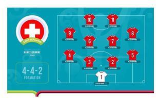 Switzerland line-up Football tournament final stage vector illustration
