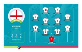 England line-up Football tournament final stage vector illustration