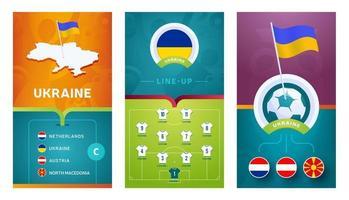 ukraine team European football vertical banner set for social media vector