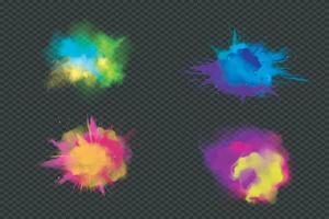 pinturas holi en polvo de colores. ilustrador de vectores 10