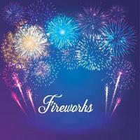 fireworks on deep blue background sky. Vector Illustrator 10