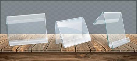 soporte de acrílico sobre escritorio de madera con tarjeta en blanco. ilustrador de vectores 10
