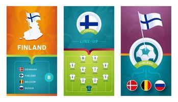 Finland team European football vertical banner set for social media vector