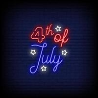 4th Of July Neon Signs Style Text Vector