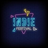 Indie Festival Neon Signs Style Text Vector