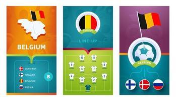 Belgium team European football vertical banner set for social media vector