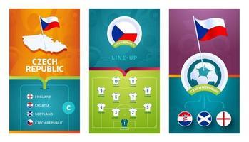 Czech Republic team European football vertical banner set for social media vector