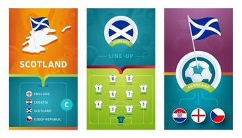 scotland team European football vertical banner set for social media vector