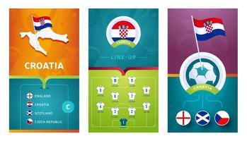 Croatia team European football vertical banner set for social media vector