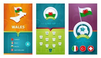 Wales team European football vertical banner set for social media vector