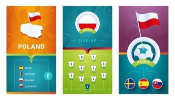Poland team European football vertical banner set for social media vector
