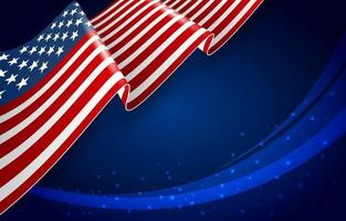 American Flag with Dark Blue Background vector