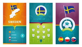 Sweden team European football vertical banner set for social media vector