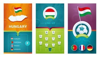 Hungary team European football vertical banner set for social media vector