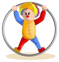 imagen vectorial de un payaso con un hula hoop. eps 10. concepto. imagen sobre fondo blanco vector