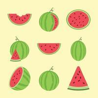 cartoon flat vector fruit watermelon set