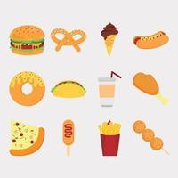 conjunto de paquete de vector de comida rápida y bebida