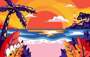 Summer Beach Sunset Background vector