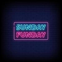 Sunday Funday Neon Signs Style Text Vector