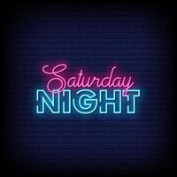 Saturday Night Neon Signs Style Text Vector