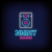 Night Sound Neon Signs Style Text Vector