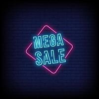 Mega Sale Neon Signs Style Text Vector