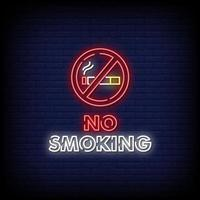No Smoking Neon Signs Style Text Vector