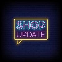 actualización de la tienda letreros de neón estilo vector de texto
