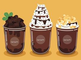 juego de batido de cacao decorar con brownies y salsa de chocolate, perlas doradas masticables y deliciosa crema batida. vector